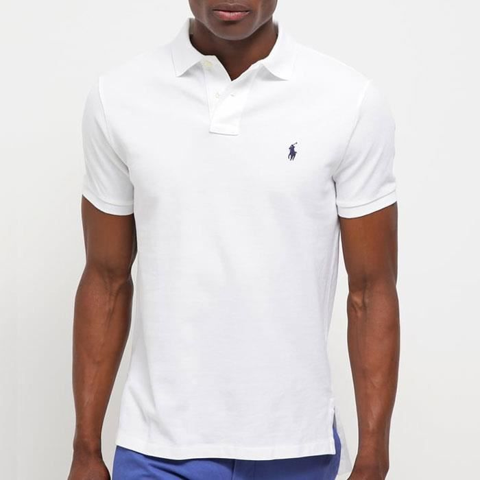 396ae82eecd3a1 RALPH LAUREN Polo Homme - Fit - Blanc - Achat   Vente polo - Cdiscount