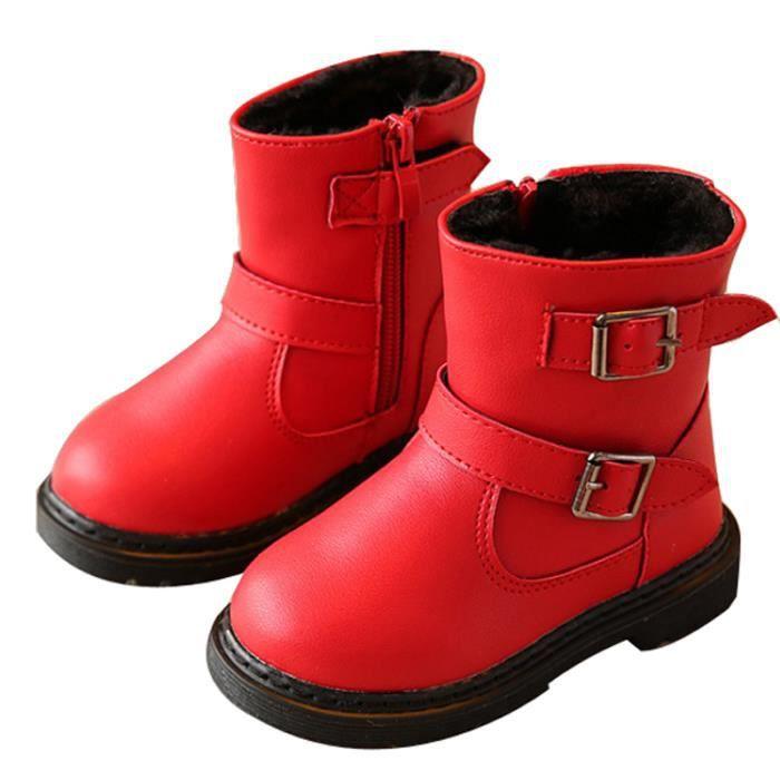 D'hiver Bottes Cuir Enfants Nouveaux Mode Bottines Fille BXFP-XZ104Rouge23 MPABTmZH