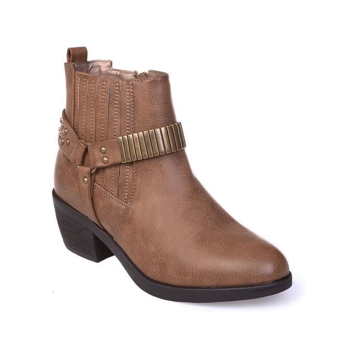 chaussures décontractées offrir des rabais bonne réputation Bottines camel type santiag détails métalliques-41