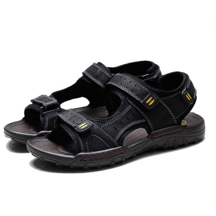 Stars® Sandales Hommes en Cuir de Vachette de Plage Sport Casual Randonnée  Respirant Confortable Bout Ouvert - Noir e872908dcc8