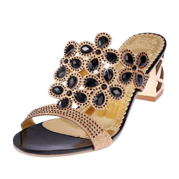 Strass Noir Chaussures Talon Tongs D'été Fat Haut Femmes Girls Mode Sandales w4vfgUczq