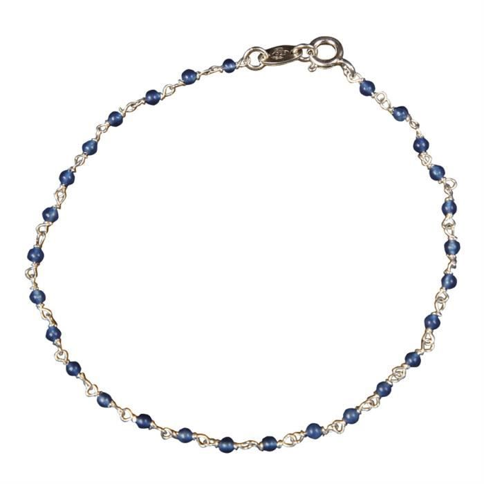 Bracelet en pierres naturelles blue onyx et argent PEPITA