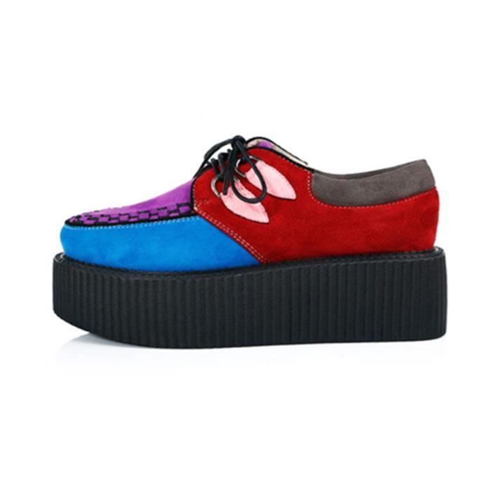 RoseG Femmes Lacets Plate Forme Gothique Punk Creepers Casual Chaussures multicolore Taille35
