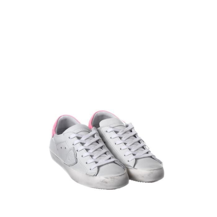 PHILIPPE MODEL FEMME CLLDVN05 BLANC CUIR BASKETS TvWLxPowNp