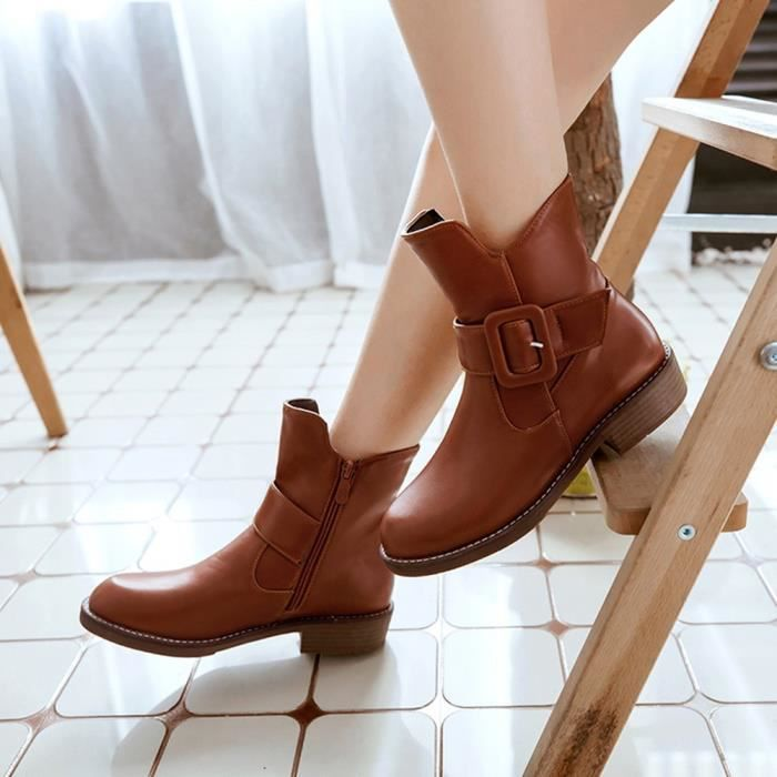 Ronde Shoes Martin Cuir Cheville En Short Femmes Toe Solide Rétro Chaud yini2708 Bottes Mode 0w7nq1vH