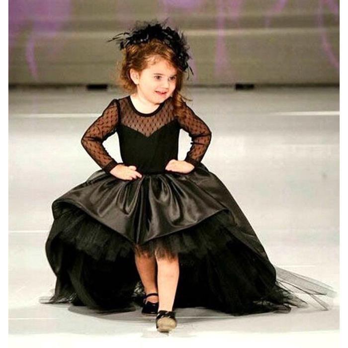 Robe longue noir traîne de cérémonie mariage anniversaire fille de fleur