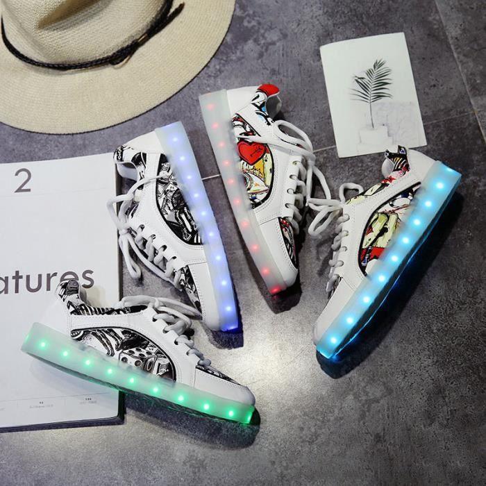 Homme chaussures Femme chaussures Chaussures de couple LED 7 Couleur USB Chaussures de sport