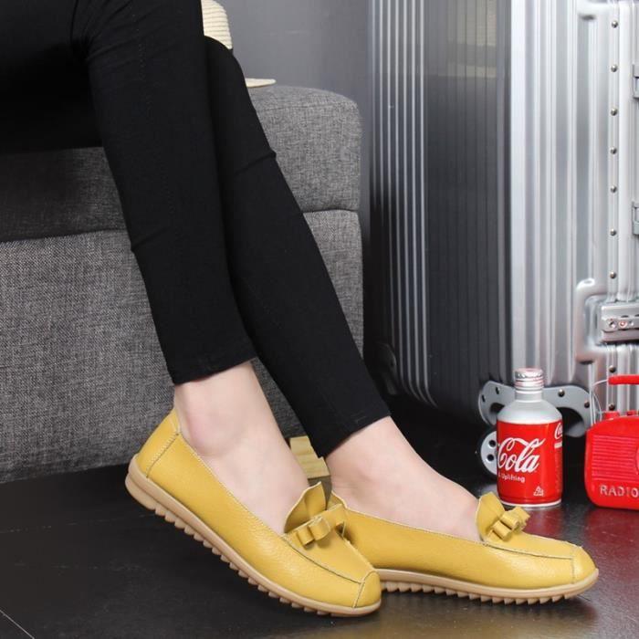 En Cuir Mre Plates Femme Chaussures Flats Vritable 5 Enfiler Femmes Mocassins Couleurs ECPAtwPqxU
