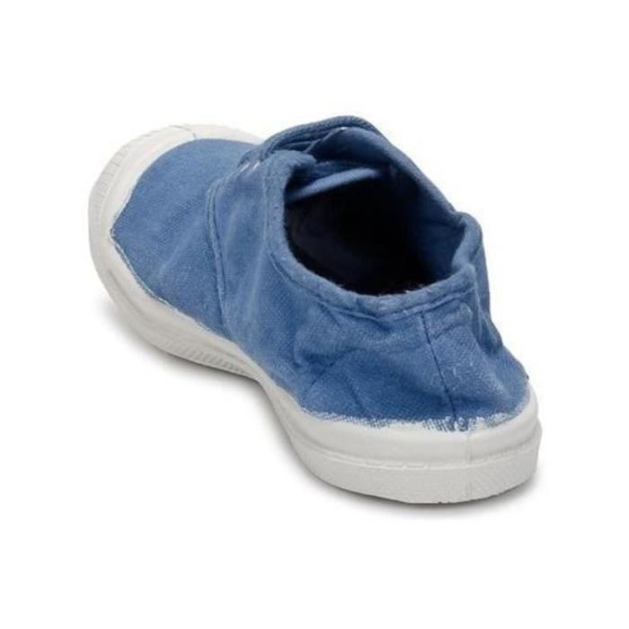 BENSIMON Baskets Basses à Lacets en Toile de Coton - Femme - Bleu poudre i8XozUo