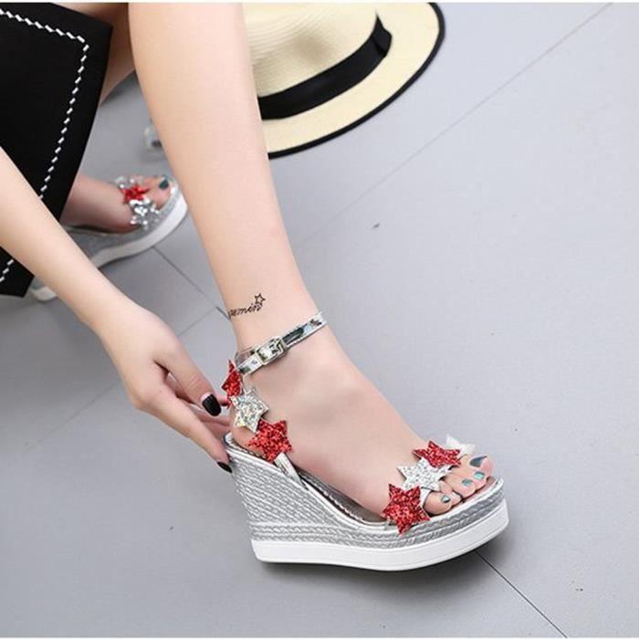 Femmes Fish Mouth Platform Talons hauts Sandales compensées Chaussures Sandales Slope 5 étoiles @XYM80305901SL