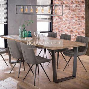 TABLE À MANGER SEULE Table à manger industrielle en bois clair SALEM 2
