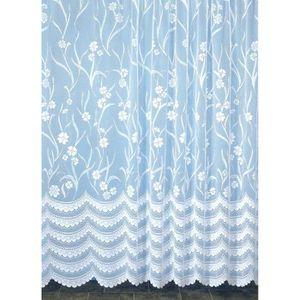VOILAGE Voilage Fleurià Galon Fronceur Blanc 300 x 240 cm