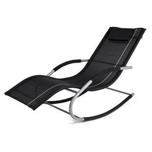 CHAISE LONGUE BERGAMO JAWA ROCK NOIR Transat à bascule fauteuil
