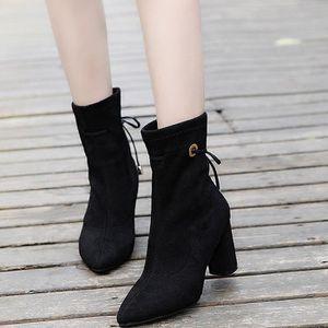 Femmes dames talon carré Martin bottes courtes en peluche cheville bottes talons chaussures Noir XKO119 veFCMAn
