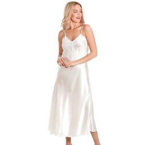 2270d5a6c91cd Dames satin dentelle longue chemise de nuit Chemise de nuit profonde avant  de dentelle de dentelle Lingerie Détail Blanc