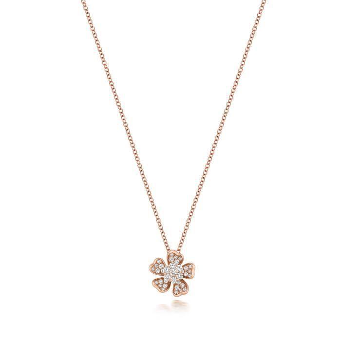 Collier Femme Or Rose 750-1000 et Diamant Brillant 0.40 Carat G - VS 36760