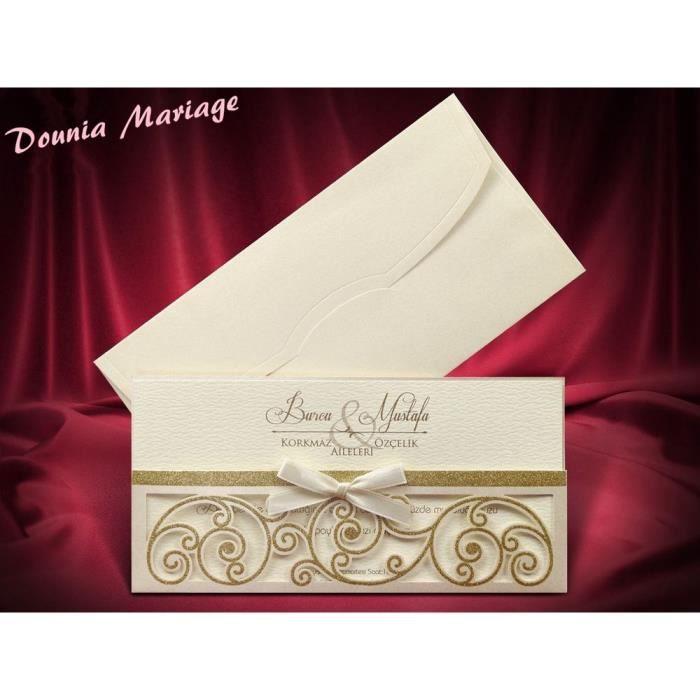 Faire Part Mariage Doré Enveloppe Inclus Avec Impression Offerte X20
