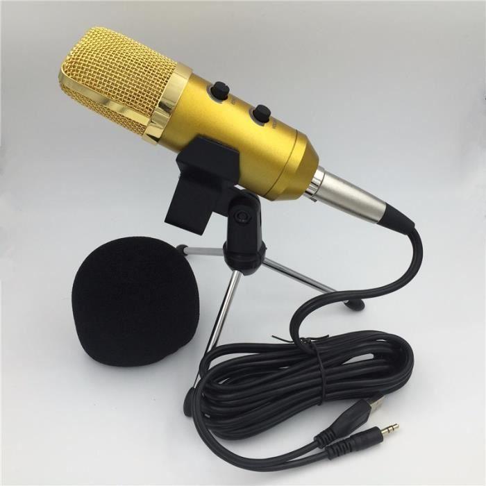 Microphone Usb 3.5mm Plug Enregistrement Pc Condensateur Construit En Puce Reverb Pour / Chant Podcast