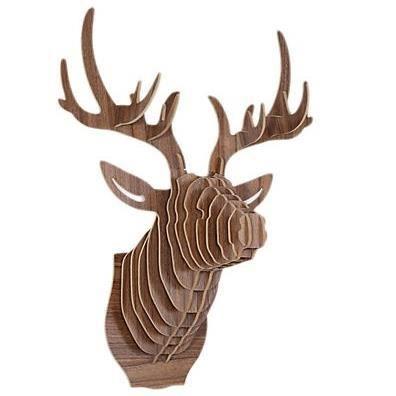 T te de cerf troph e chasse bois luxe art d co achat for Decoration maison chasse