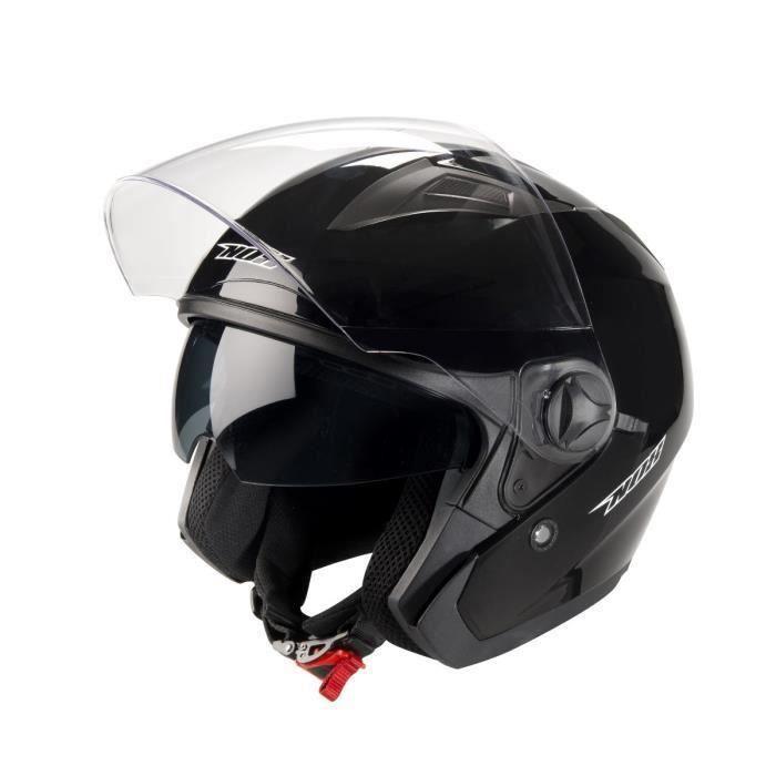 casque jet nox n124 noir verni visiere solaire achat vente casque moto scooter casque jet. Black Bedroom Furniture Sets. Home Design Ideas