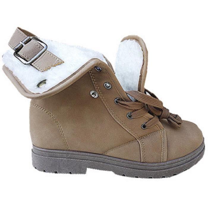 Chaud Bottines Fashionfolie888 Dsd Taupe Femme Boots Fille Fourrure Baskets 1 Fourrée Montantes Axq0I76wq