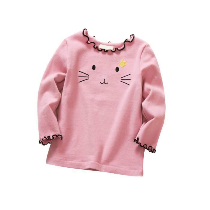 9193a0aadc8c5 T-Shirt en Coton Épaissi en Laine Agéable Chaud Chic pour Enfant Fille