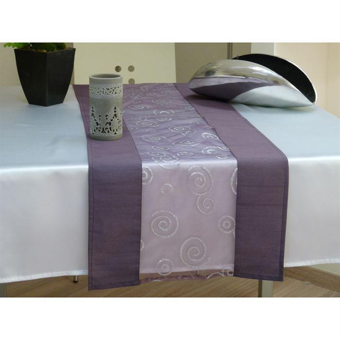 chemin de table 40x140 cm cosmos prune et argent achat. Black Bedroom Furniture Sets. Home Design Ideas