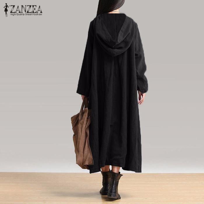 ZANZEA Femmes Robe Capuche Kaftan Longue Mode