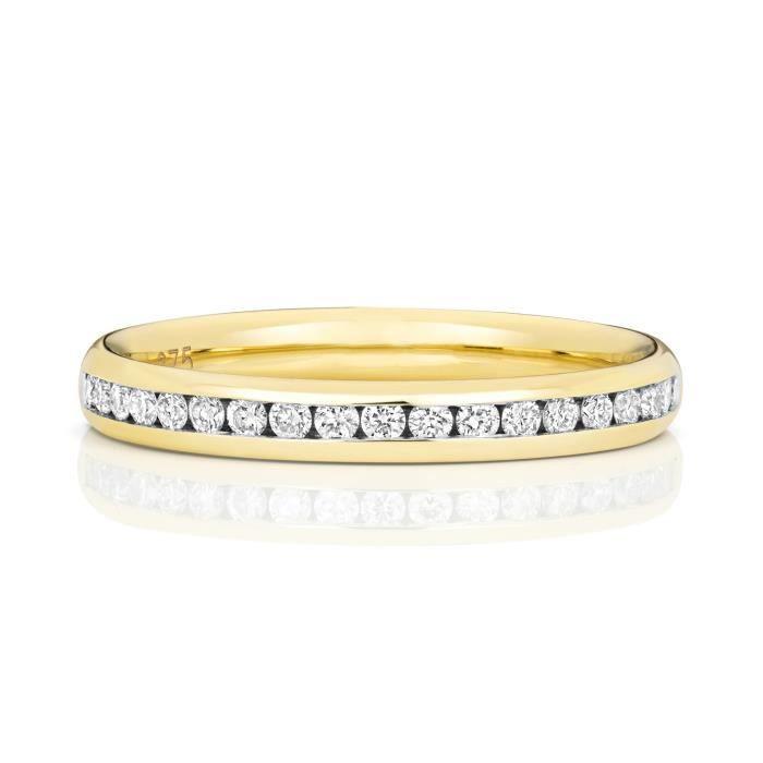 Bague de Mariage-Alliance Femme Semi Pavée 2,7mm Or 750-1000 et Diamant Brillant 0.24 Carat G - SI1