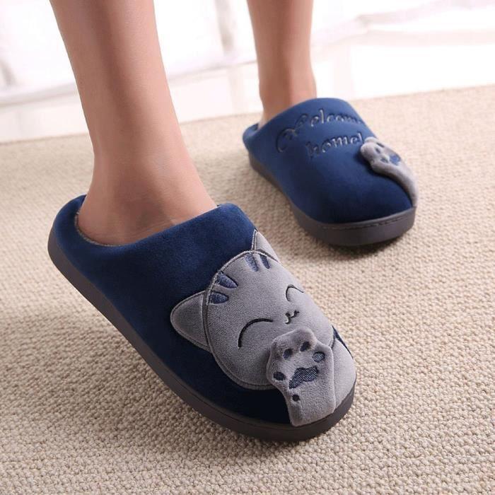 Patte Chaussons Intérieure Peluche Minetom Unisex D'Ours Coton Chaussons Chaudes Hiver Femmes Slipper Pantoufles Hommes Yx88BnwT