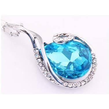 Parure goutte cristal SWAROVSKI ELEMENTS plaqué or blanc couleur Bleu turquoise