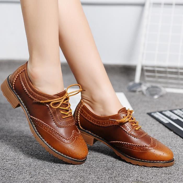 chaussures multisport Mixte pour dames Vintage Voir mince en cuir véritable Casual marron taille8
