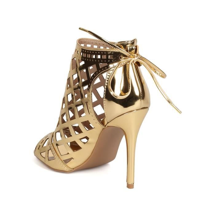 Fh90 Metallic Leatherette Peep Toe Cut Out Back Tie Stiletto Bootie - Gold XJIHF Taille-41 MpcIHP