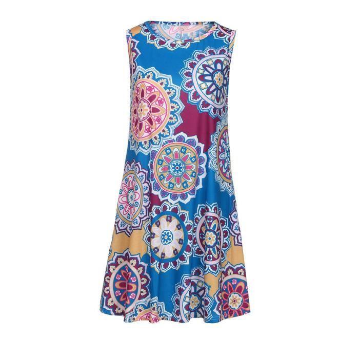 Womens Summer Vintage Boho Maxi robe de soirée de plage Floral Party @ zf21