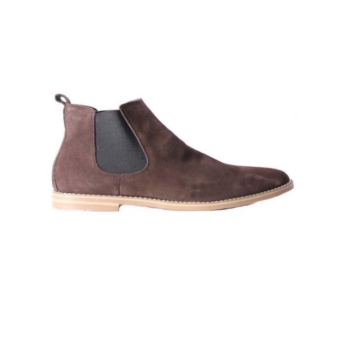 Cuir Boots Homme Pour Chelsea Marron Elong 5vwxPY