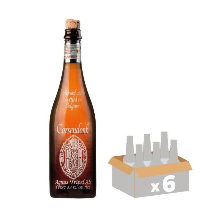 BRASSERIE CORSENDONK Agnus Triple - Bière Blonde - 75 cl x6 - 7,5 % - Fabriquée en BelgiqueBIERE