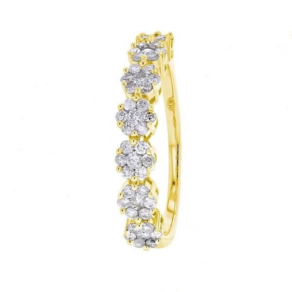 MONTE CARLO STAR - Alliance Multi Pierres en Or Jaune 18 Carats et Diamants - Femme