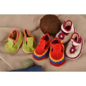 check-out 765bd 81a1d Chaussons tricot fait main Nu-pieds enfant Chaussures bébé ...