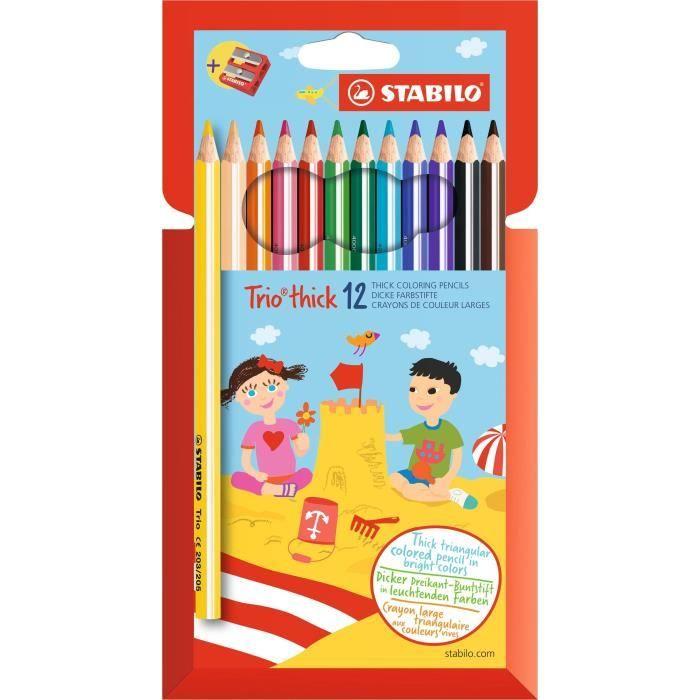 STABILO Etui carton de 12 crayons de couleur Trio + 1 taille-crayon