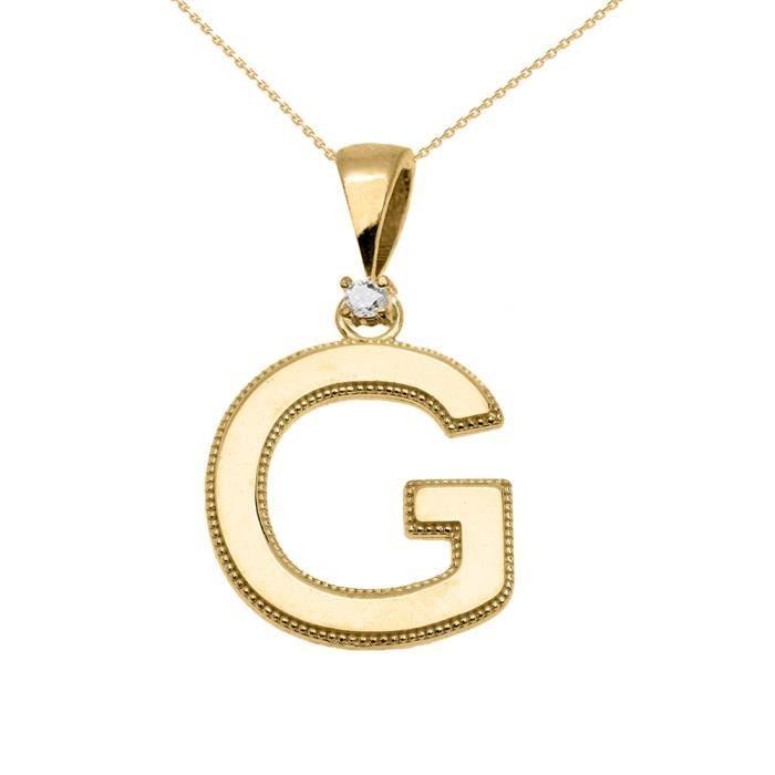 Collier Femme Pendentif 14 Ct Or Jaune Poli Élevé Milgrain Solitaire Diamant G Initiale (Livré avec une 45cm Chaîne)