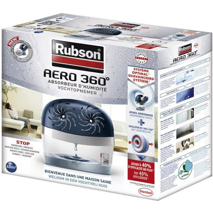 rubson absorbeur aero 360 power tab 40m² avec 2 recharges - achat