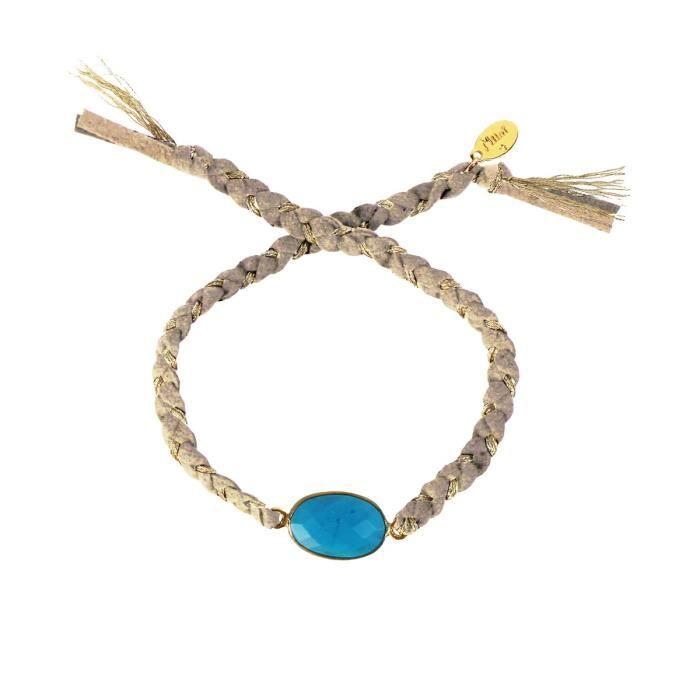 Cordon NILAÏ Gris avec Métal Doré et Turquoise Bleu