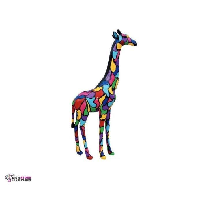 Sculpture girafe multicolore h 210 cm statuette for Statue d exterieur decoration