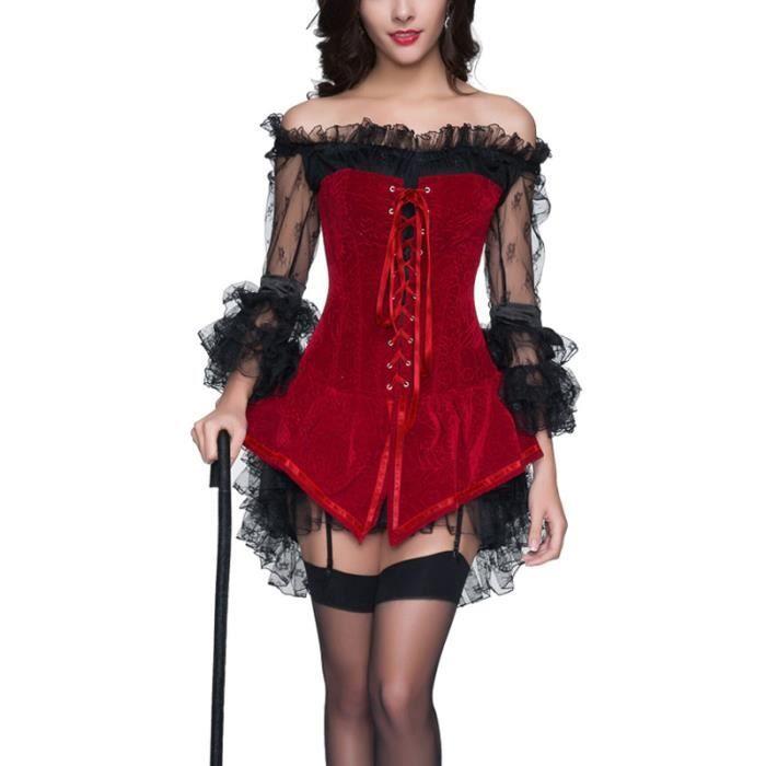 4f880377a8e Robe courte en dentelle noire avec bustier rouge pirate elegant gothique