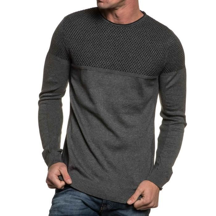 36dff16b0573f Pull homme gris fine maille Gris Gris - Achat   Vente pull - Cdiscount