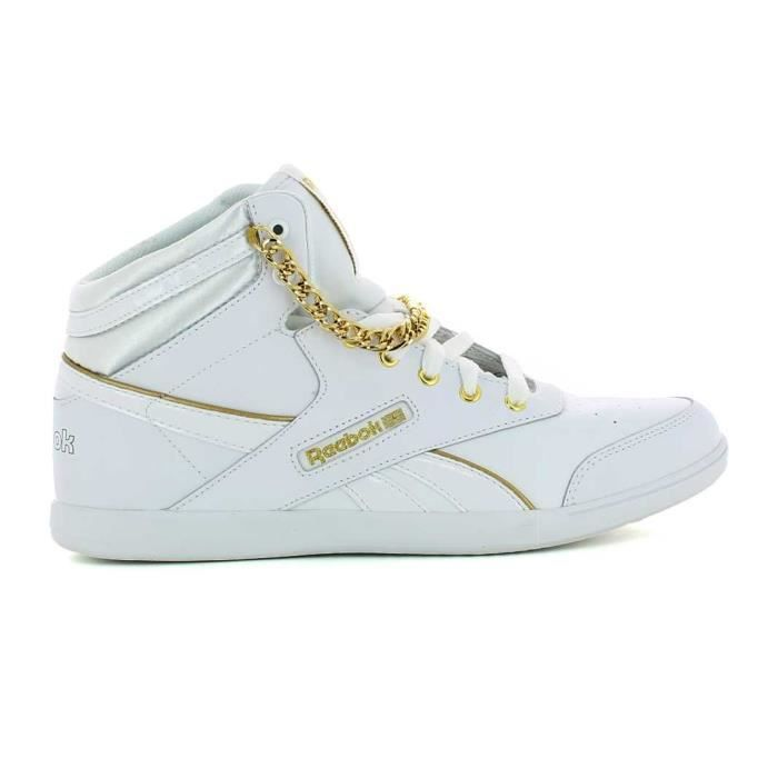 finest selection 253ab 2527a Basket montante reebok classic bb7700 mid cuir blanc dore