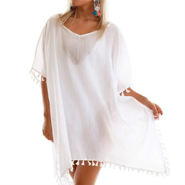 Fitibest classique Femme Maillots de bain Col rond Robe, blanc