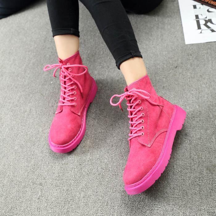 Plat Femme Beguinstore Lacets pais Talons Hiver Dames Vif Bottes love43 Plate forme Chaussures Automne Rose 4qwXr4