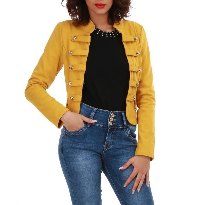 Veste en jean jaune moutarde