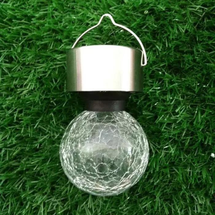 4Pcs Énergie solaire LED Lampe Crack Boule de verre Spot Lumières ...